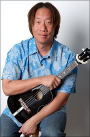 Man holding onto ukulele
